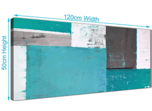 Panoramic Teal Grey Abstract Painting Canvas Wall Art Modern 120cm Wide 1344 For Your Living Room