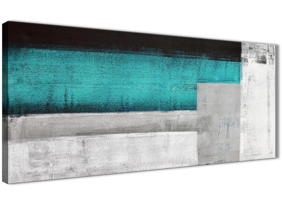 Panoramic Teal Turquoise Grey Painting Bedroom Canvas Pictures Accessories - Abstract 1429 - 120cm Print