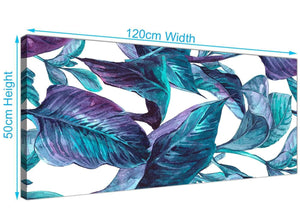 Panoramic Turquoise And White Tropical Leaves Canvas Modern 120cm Wide 1323 For Your Dining Room