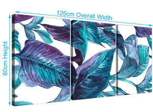 Panoramic Turquoise And White Tropical Leaves Canvas Split 3 Piece 3323 For Your Dining Room