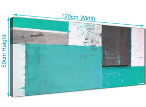 Panoramic Turquoise Grey Abstract Painting Canvas Wall Art Modern 120cm Wide 1345 For Your Living Room