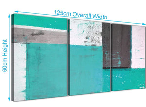 Panoramic Turquoise Grey Abstract Painting Canvas Wall Art Multi Set Of 3 125cm Wide 3345 For Your Living Room