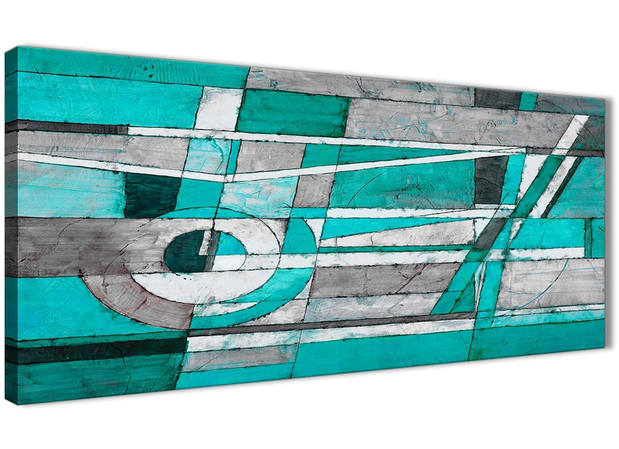 Panoramic Turquoise Grey Painting Living Room Canvas Wall Art Accessories - Abstract 1403 - 120cm Print