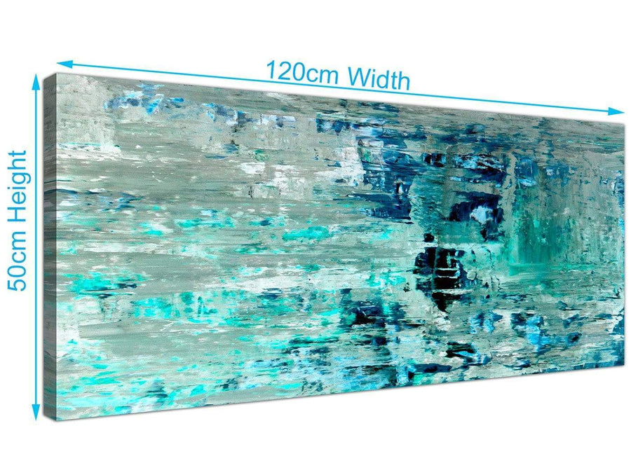 Panoramic Turquoise Teal Abstract Painting Wall Art Print Canvas Modern 120cm Wide 1333 For Your Bedroom