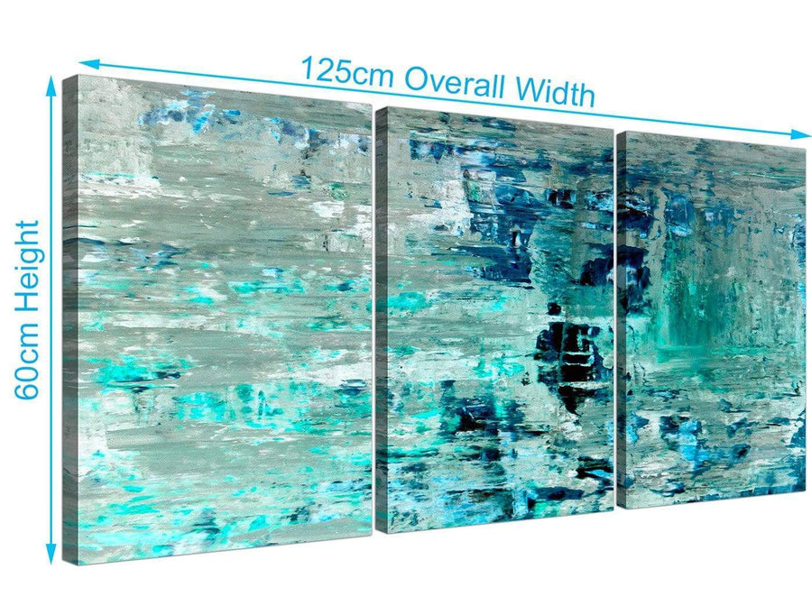 Panoramic Turquoise Teal Abstract Painting Wall Art Print Canvas Split 3 Panel 3333 For Your Living Room