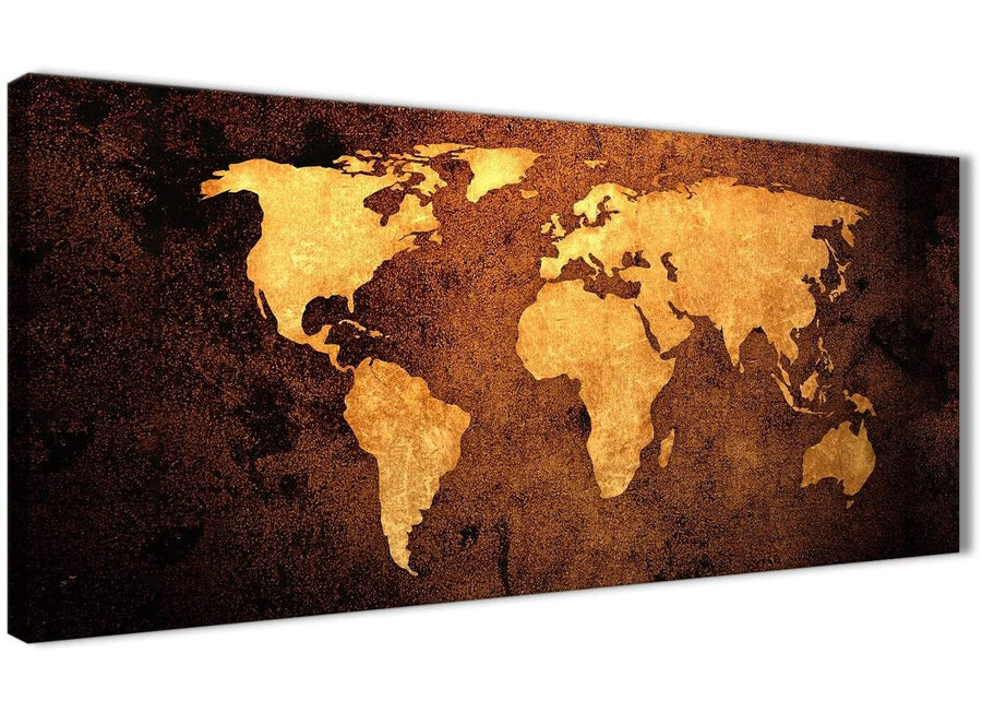 Panoramic Vintage Old World Map - Brown Cream Canvas - Living Room Canvas Wall Art Accessories - Abstract 1188 - 120cm Print