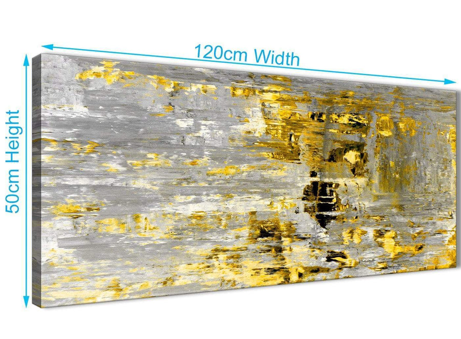 Panoramic Yellow Abstract Painting Wall Art Print Canvas Modern 120cm Wide 1357 For Your Dining Room