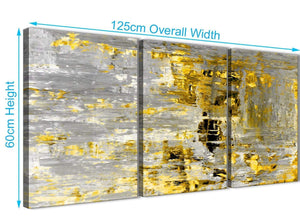 Panoramic Yellow Abstract Painting Wall Art Print Canvas Split 3 Part 125cm Wide 3357 For Your Living Room