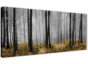 Panoramic Yellow and Grey Forest Woodland Trees Living Room Canvas Pictures Accessories - 1384 - 120cm Print
