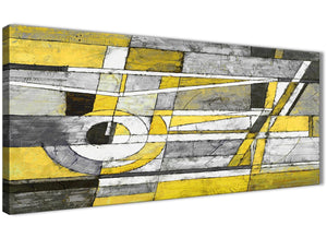 Panoramic Yellow Grey Painting Living Room Canvas Pictures Accessories - Abstract 1400 - 120cm Print