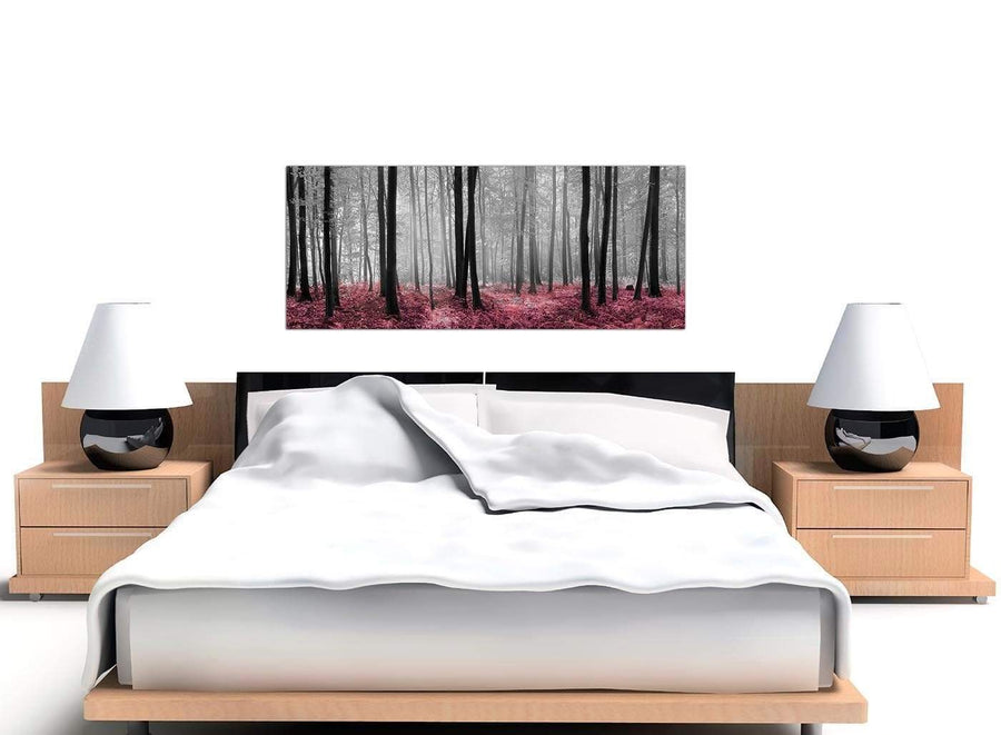 Pink black white forest canvas
