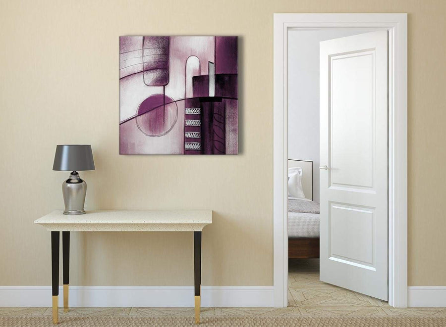 Plum Grey Painting Abstract Office Canvas Pictures Accessories 1s420l - 79cm Square Print