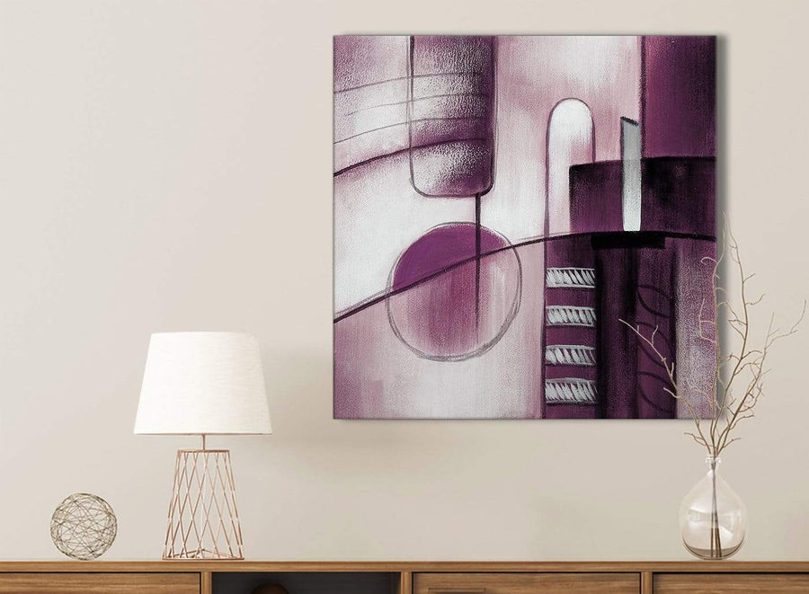 Plum Grey Painting Kitchen Canvas Pictures Accessories - Abstract 1s420s - 49cm Square Print