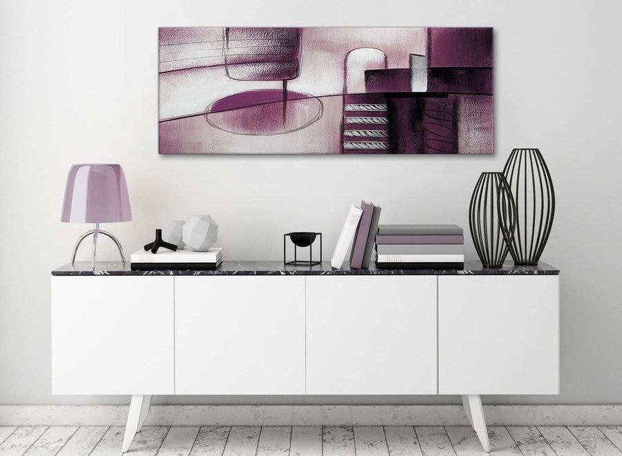 Plum Grey Painting Living Room Canvas Wall Art Accessories - Abstract 1420 - 120cm Print