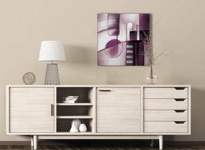 Plum Grey Painting Hallway Canvas Pictures Decorations - Abstract 1s420m - 64cm Square Print