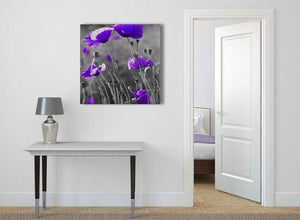 Purple Poppy Grey Black White Flower Floral Abstract Office Canvas Wall Art Decorations 1s136l - 79cm Square Print
