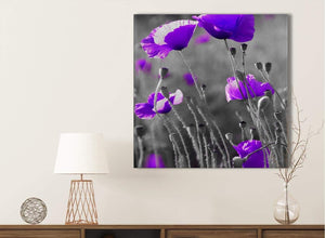 Purple Poppy Grey Black White Flower Floral Bathroom Canvas Wall Art Accessories - Abstract 1s136s - 49cm Square Print