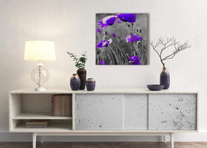 Purple Poppy Grey Black White Flower Floral Living Room Canvas Pictures Decorations - Abstract 1s136m - 64cm Square Print