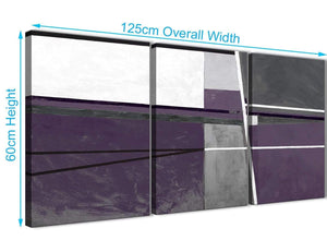 Quality 3 Piece Aubergine Grey Painting Hallway Canvas Pictures Decor - Abstract 3392 - 126cm Set of Prints