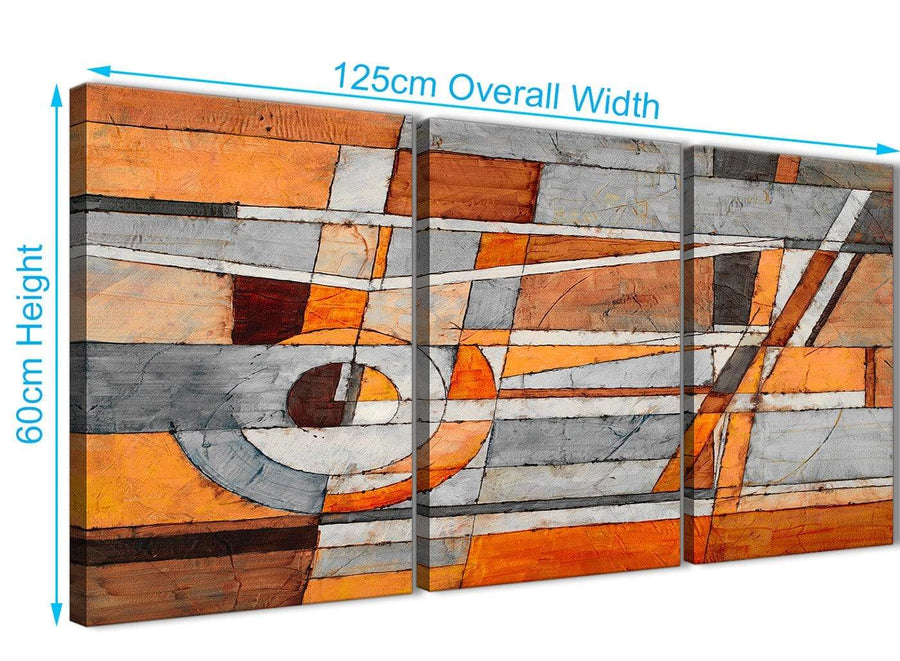 Quality 3 Piece Burnt Orange Grey Painting Office Canvas Pictures Accessories - Abstract 3405 - 126cm Set of Prints