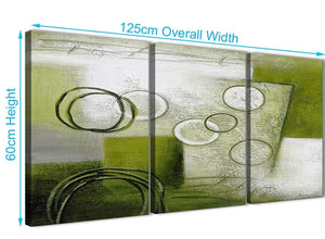 Quality 3 Piece Lime Green Painting Kitchen Canvas Wall Art Accessories - Abstract 3434 - 126cm Set of Prints