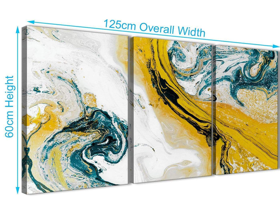 Quality 3 Piece Mustard Yellow and Teal Swirl Dining Room Canvas Wall Art Accessories - Abstract 3470 - 126cm Set of Prints