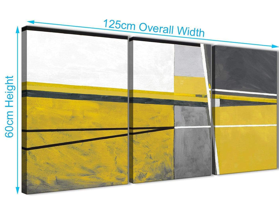 Quality 3 Panel Mustard Yellow Grey Painting Living Room Canvas Wall Art Decor - Abstract 3388 - 126cm Set of Prints