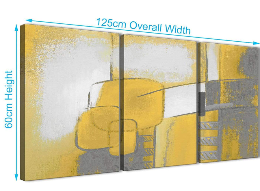 Quality 3 Piece Mustard Yellow Grey Painting Kitchen Canvas Pictures Decor - Abstract 3419 - 126cm Set of Prints