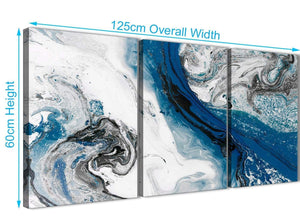Quality 3 Piece Blue and Grey Swirl Dining Room Canvas Pictures Decor - Abstract 3465 - 126cm Set of Prints
