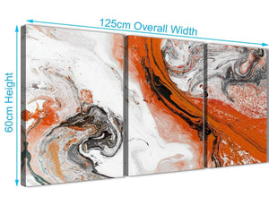 Quality 3 Panel Orange and Grey Swirl Dining Room Canvas Pictures Decor - Abstract 3461 - 126cm Set of Prints