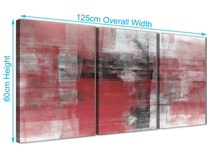 Quality 3 Panel Red Black White Painting Living Room Canvas Pictures Accessories - Abstract 3397 - 126cm Set of Prints