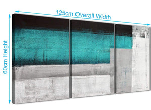 Quality 3 Piece Teal Turquoise Grey Painting Dining Room Canvas Pictures Accessories - Abstract 3429 - 126cm Set of Prints