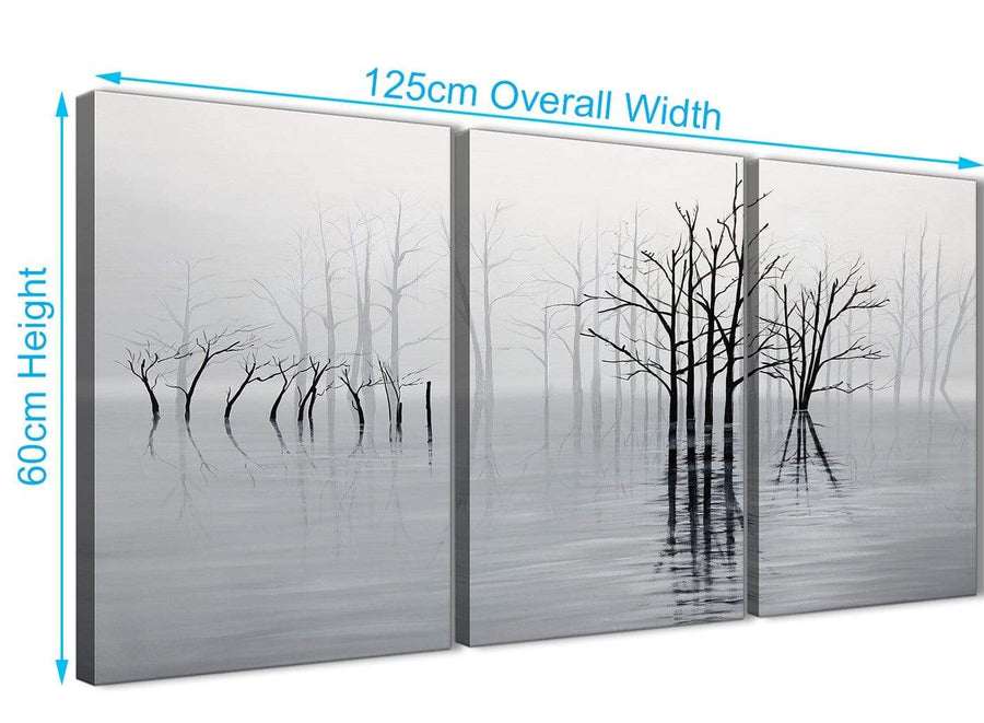 Quality 3 Piece Black White Grey Tree Landscape Painting Bedroom Canvas Pictures Decor - 3416 - 126cm Set of Prints