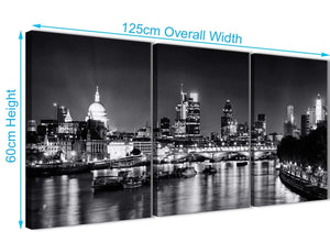 Quality 3 Piece Landscape Canvas Wall Art River Thames Skyline of London - 3430 Black White Grey 126cm Set of Prints