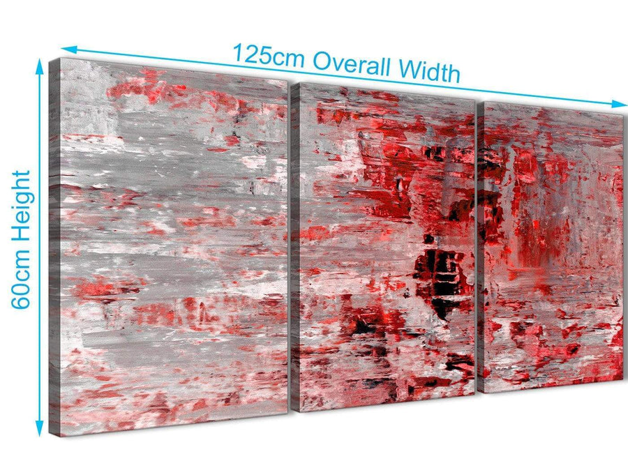 Quality 3 Panel Red Grey Painting Kitchen Canvas Wall Art Accessories - Abstract 3414 - 126cm Set of Prints
