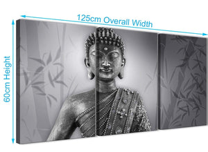 Quality 3 Panel Black White Buddha Kitchen Canvas Wall Art Accessories - 3373 - 126cm Set of Prints