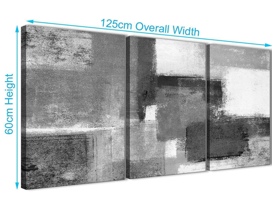 Quality 3 Panel Black White Grey Office Canvas Pictures Decor - Abstract 3368 - 126cm Set of Prints