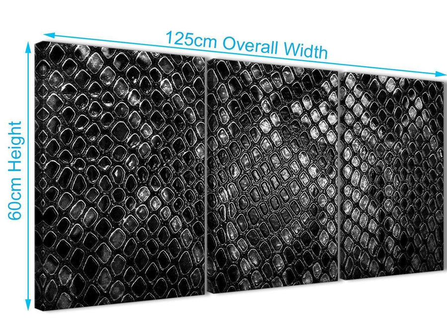 Quality 3 Piece Black White Snakeskin Animal Print Office Canvas Wall Art Accessories - Abstract 3510 - 126cm Set of Prints