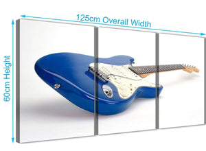 Quality 3 Piece Blue White Fender Electric Guitar - Dining Room Canvas Wall Art Decor - 3447 - 126cm Set of Prints