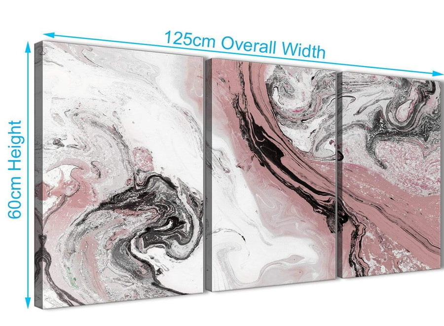 Quality 3 Panel Blush Pink and Grey Swirl Kitchen Canvas Pictures Accessories - Abstract 3463 - 126cm Set of Prints