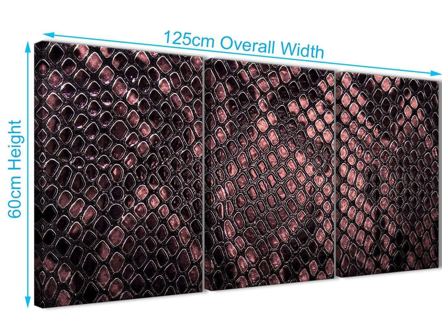 Quality 3 Piece Blush Pink Snakeskin Animal Print Kitchen Canvas Pictures Decor - Abstract 3473 - 126cm Set of Prints