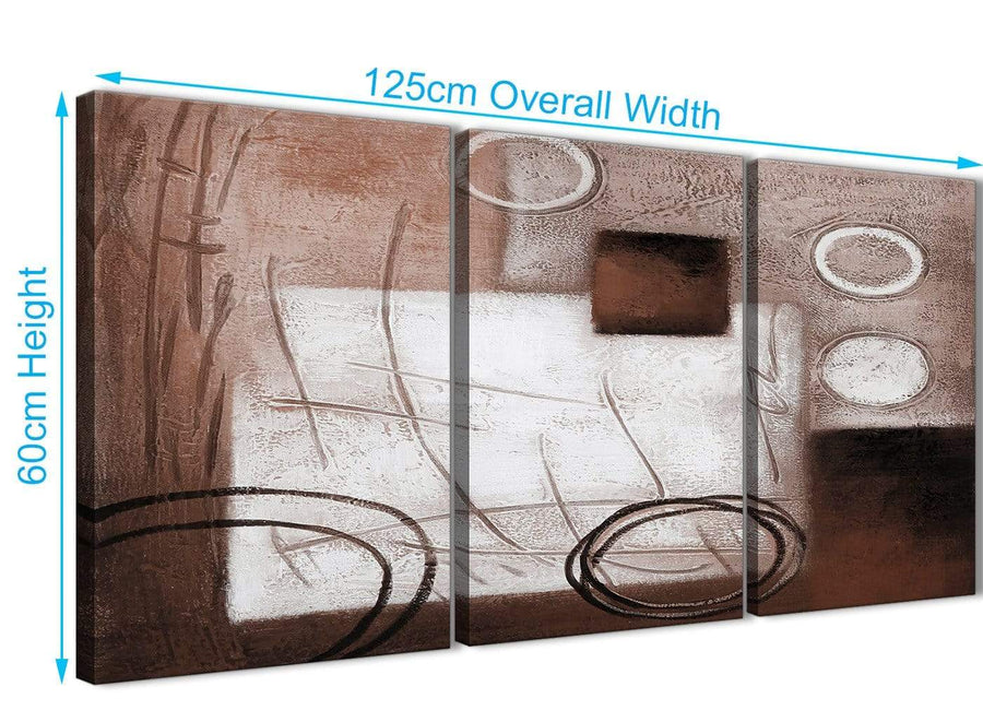 Quality 3 Piece Brown White Painting Kitchen Canvas Wall Art Accessories - Abstract 3422 - 126cm Set of Prints