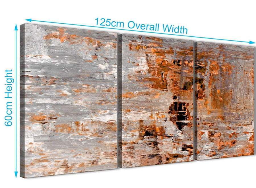 Quality 3 Panel Burnt Orange Grey Painting Kitchen Canvas Wall Art Accessories - Abstract 3415 - 126cm Set of Prints
