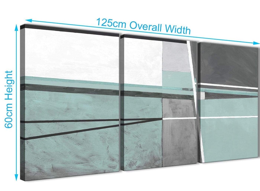 Quality 3 Panel Duck Egg Blue Grey Painting Living Room Canvas Pictures Decor - Abstract 3396 - 126cm Set of Prints