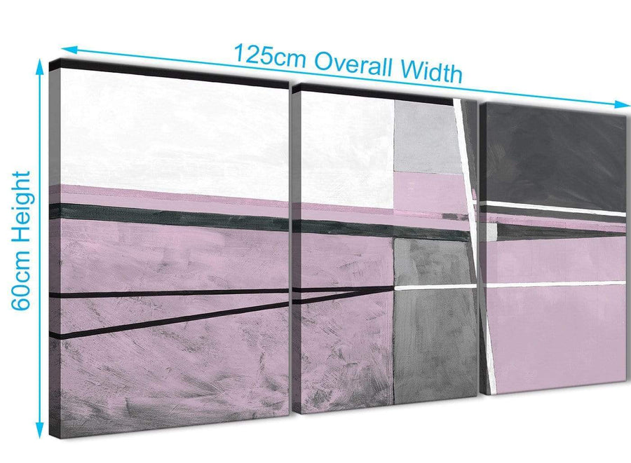 Quality 3 Piece Lilac Grey Painting Living Room Canvas Wall Art Accessories - Abstract 3395 - 126cm Set of Prints