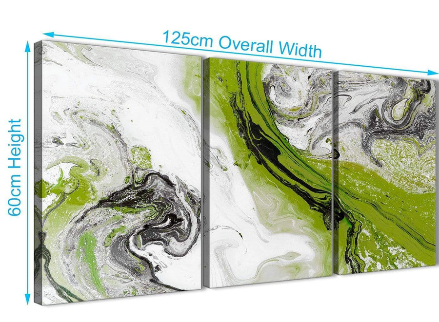 Quality 3 Piece Lime Green and Grey Swirl Kitchen Canvas Wall Art Accessories - Abstract 3464 - 126cm Set of Prints
