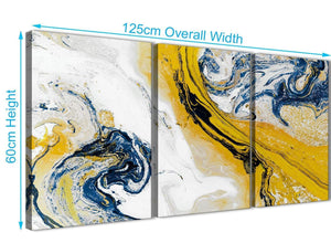 Quality 3 Piece Mustard Yellow and Blue Swirl Living Room Canvas Wall Art Accessories - Abstract 3469 - 126cm Set of Prints