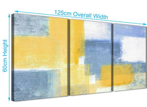 Quality 3 Panel Mustard Yellow Blue Kitchen Canvas Wall Art Accessories - Abstract 3371 - 126cm Set of Prints