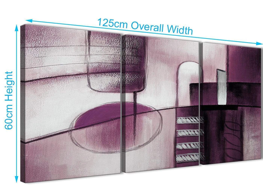 Quality 3 Piece Plum Grey Painting Kitchen Canvas Wall Art Accessories - Abstract 3420 - 126cm Set of Prints