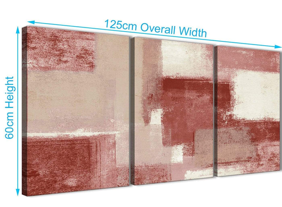Quality 3 Piece Red and Cream Kitchen Canvas Pictures Decor - Abstract 3370 - 126cm Set of Prints